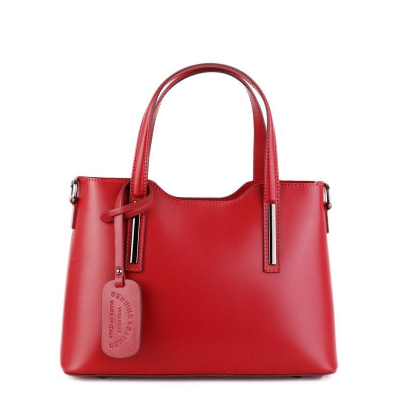 ITALSKÉ Trendové červené kožené kabelky do ruky Carina