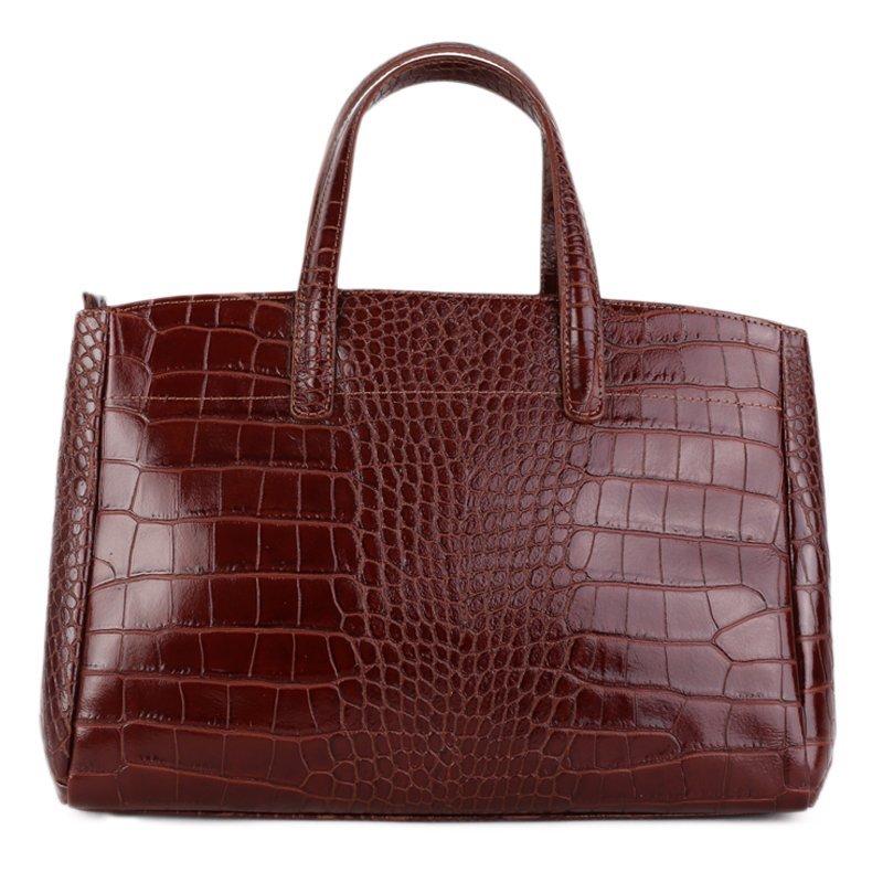 ITALSKÉ Klasické kožené business kabelky hnědé Rachel