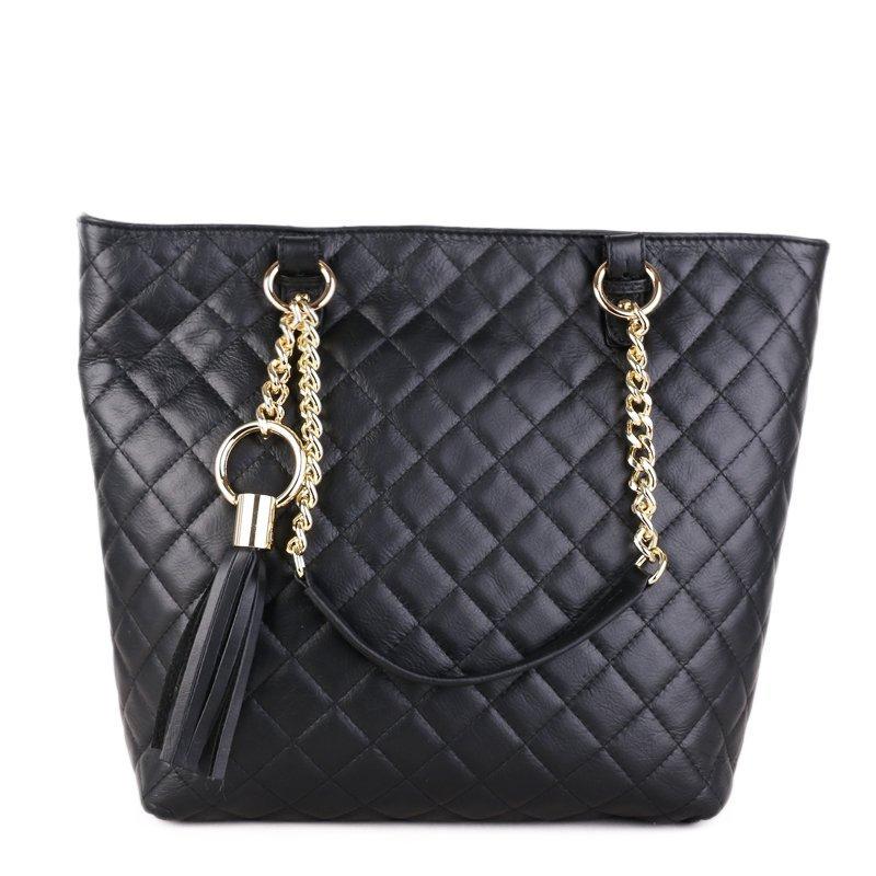 ITALSKÉ Luxusní kožené kabelky pro dámy Vera Pelle Mirta černé