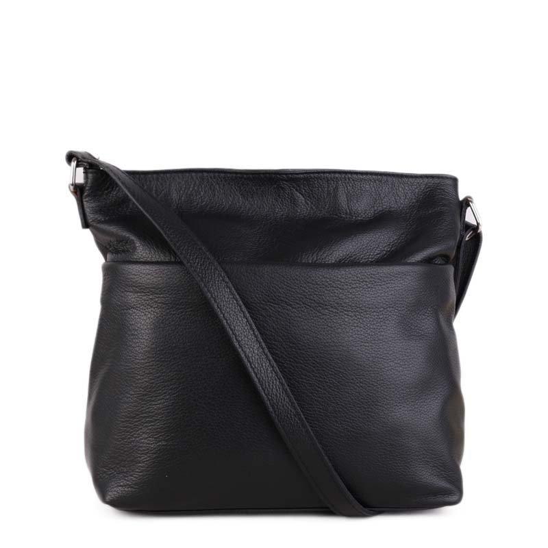 ITALSKÉ Černé dámské kožené kabelky přes rameno Ilona