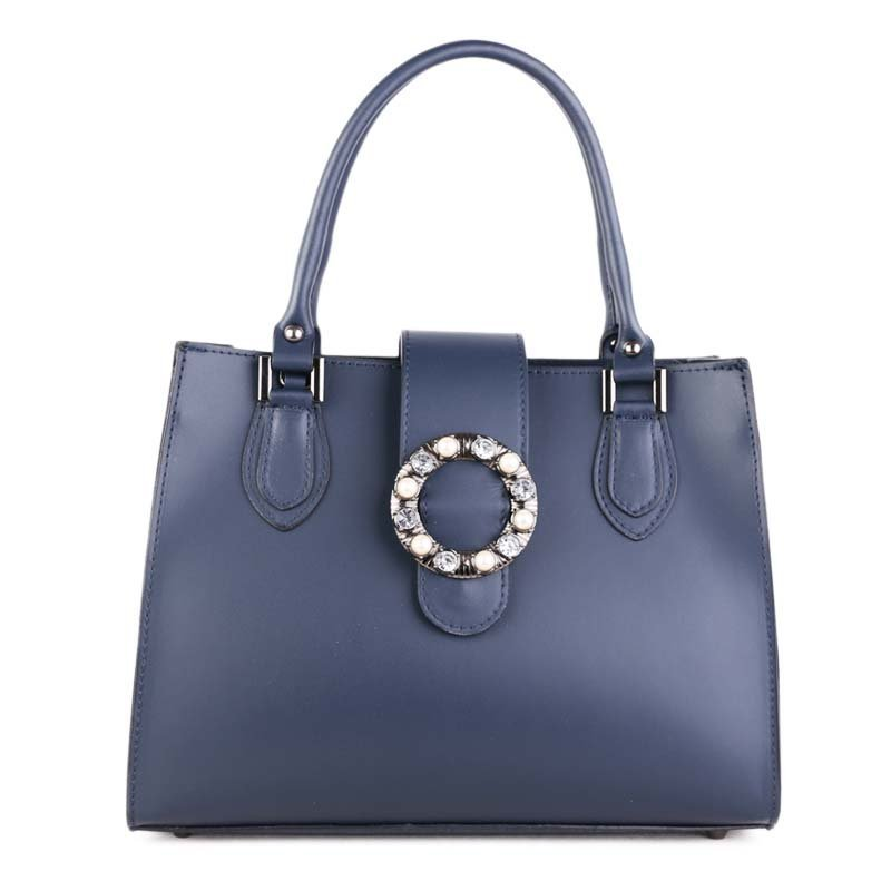ITALSKÉ Modré dámské luxusní kožené kabelky do ruky Agata