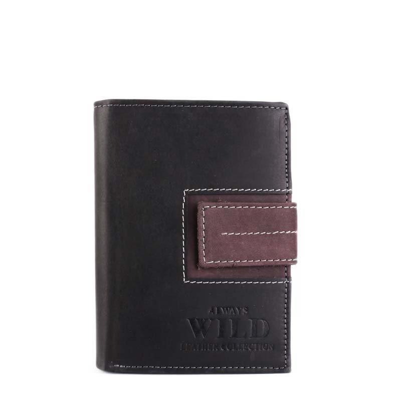 ITALSKÉ Kožené peněženky levné Always wild N4L-SQ Black