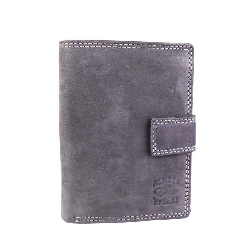 Pánské šedé kožené peněženky Always Wild N4L-ALH black