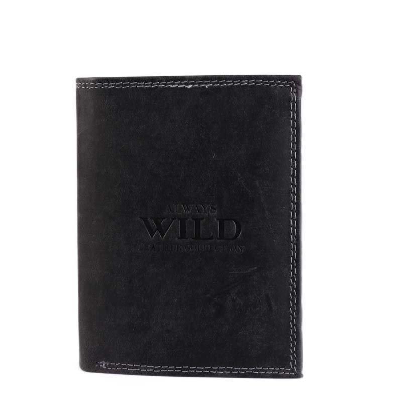 ALWAYS WILD Levné černé kožené peněženky N4-BMH black