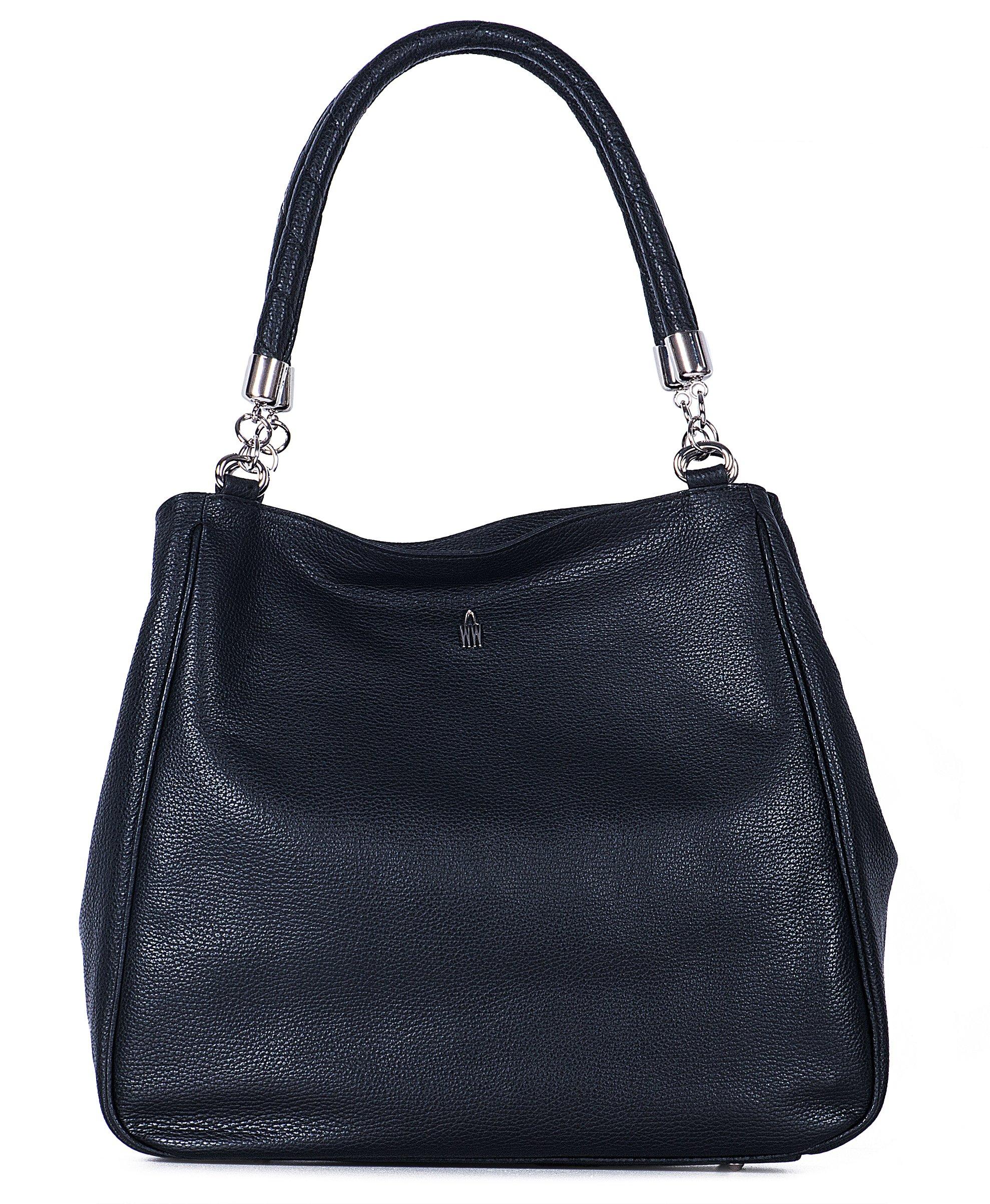 Luxusní černé dámské kožené kabelky Wojewodzic 31215/GS01