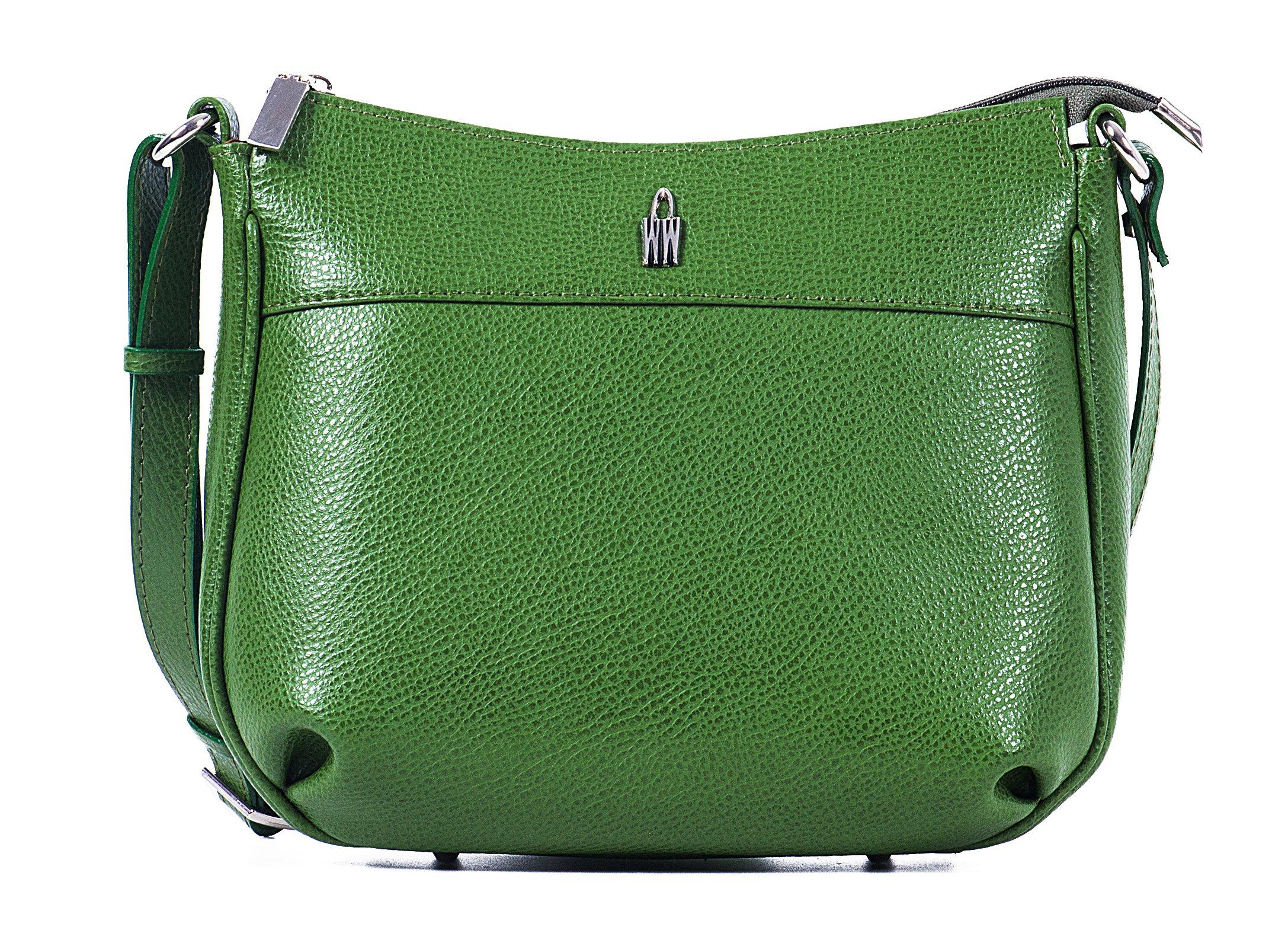 Luxusní kožené crossbody kabelky 31303/OL11 Izabela zelené Wojewodzic