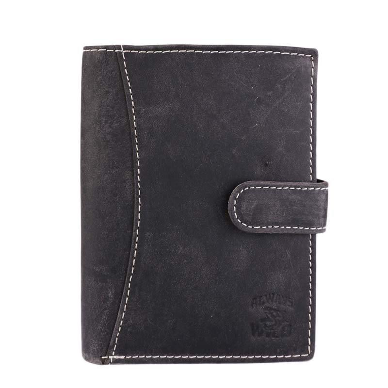 Levné černé pánské kožené peněženky Always wild N4L-H black