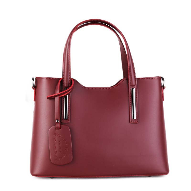 ITALSKÉ Luxusní kožené kabelky do ruky burgunské vínové Carina