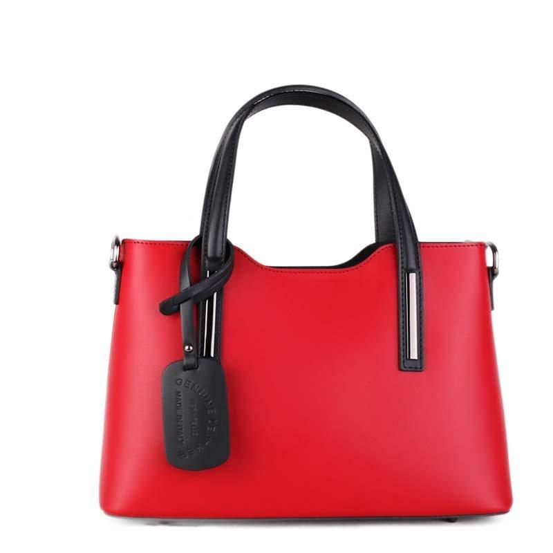ITALSKÉ Italské luxusní kožené kabelky do ruky Carina červená s černou
