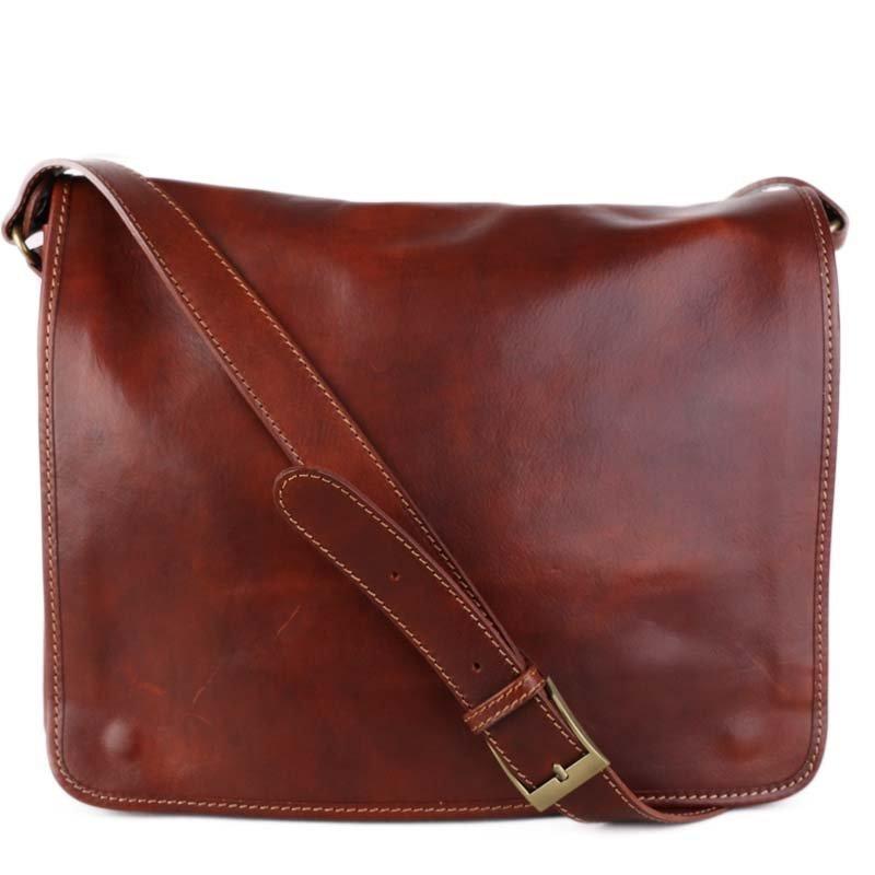 ITALSKÉ Hnědé pánské kožené tašky přes rameno na notebook Marek hnědé
