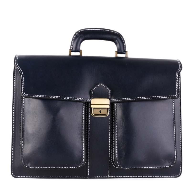 ITALSKÉ Praktické velké kožené tašky do ruky Vera Pelle modré Marcel