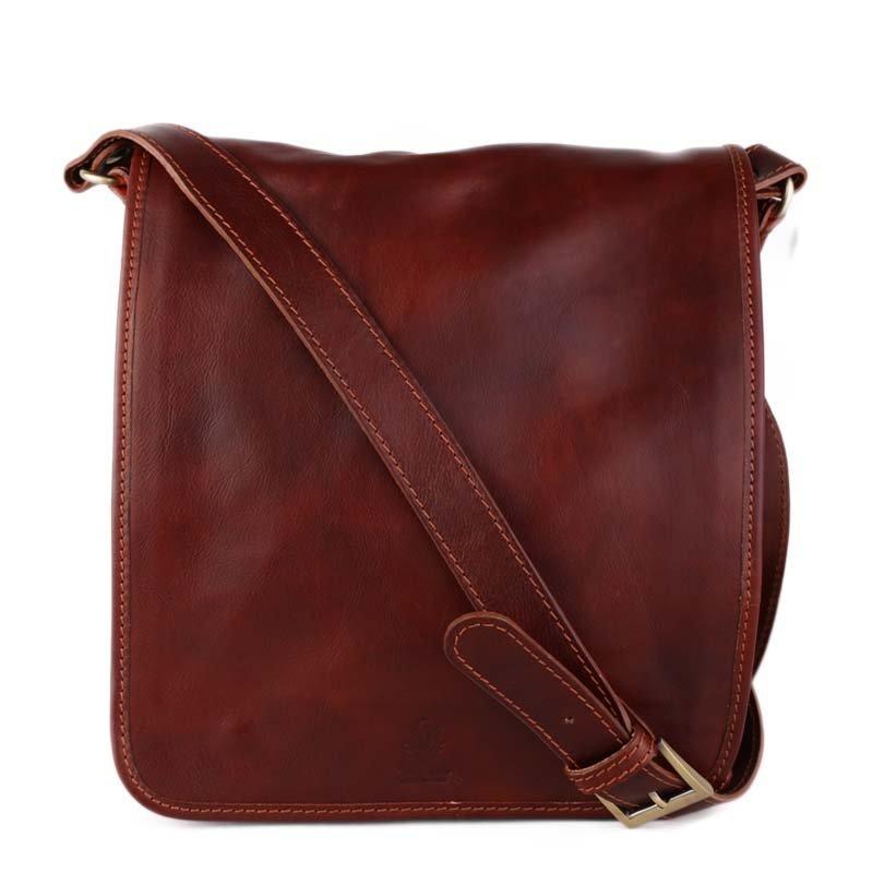 ITALSKÉ Klasické pánské kožené tašky crossbody Vera Pelle hnědé Chulio