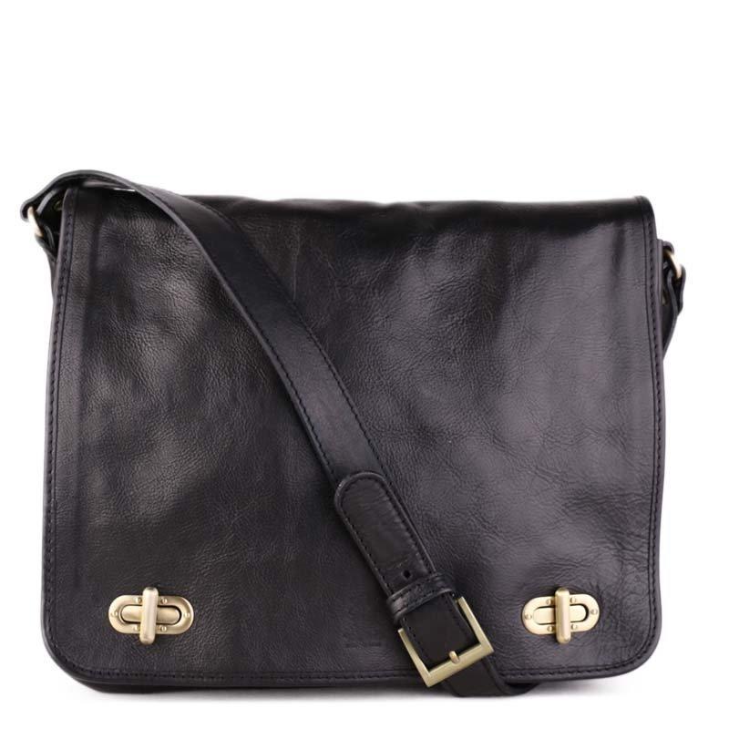 ITALSKÉ Černé prostorné Italské kožené tašky přes rameno černé Vincenz