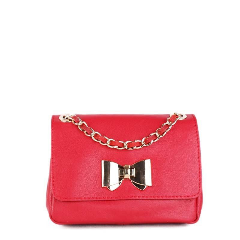 ITALSKÉ Malé luxusní kožené kabelky červené z Itálie Silvia