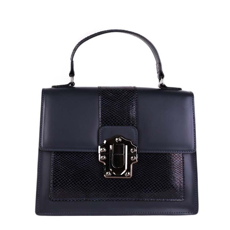 ITALSKÉ Luxusní modré kožené kabelky do společnosti Amanda