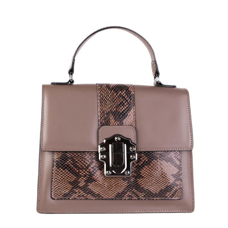 ITALSKÉ Luxusní dámské Italské kožené kabelky Amanda hnědé (taupe)