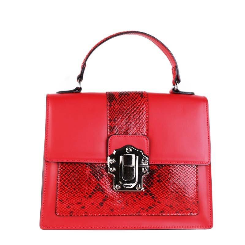 ITALSKÉ Luxusní kožené kabelky do ruky červené Amanda