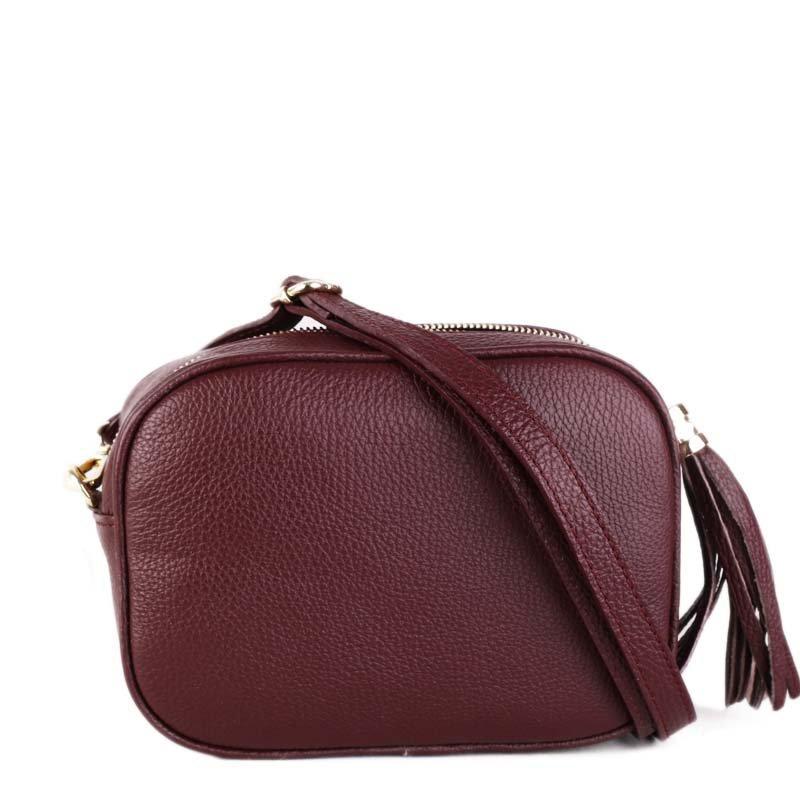 ITALSKÉ Trendové malé kožené crossbody kabelky Kasandra burgundské