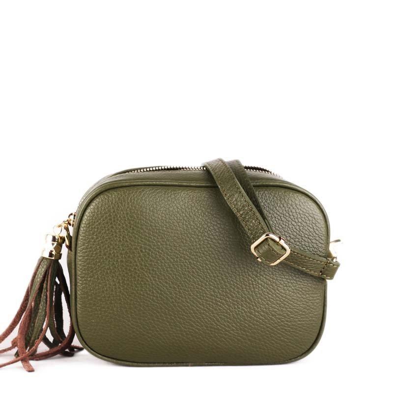 ITALSKÉ Luxusní moderné kožené kabelky crossbody Kasandra zelené