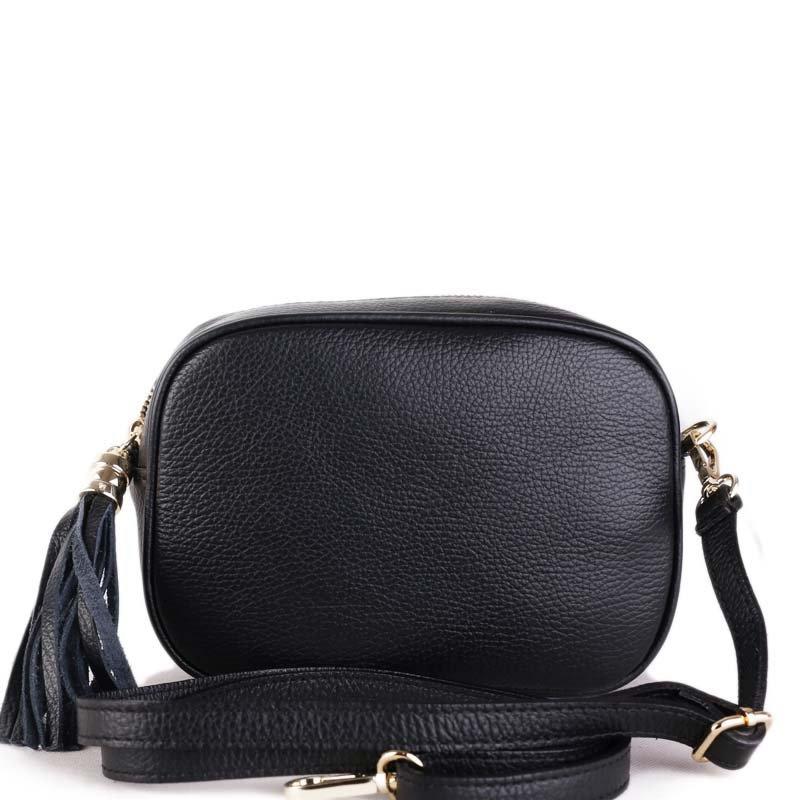 ITALSKÉ Luxusní malé dámské kožené kabelky crossbody Kasandra černé