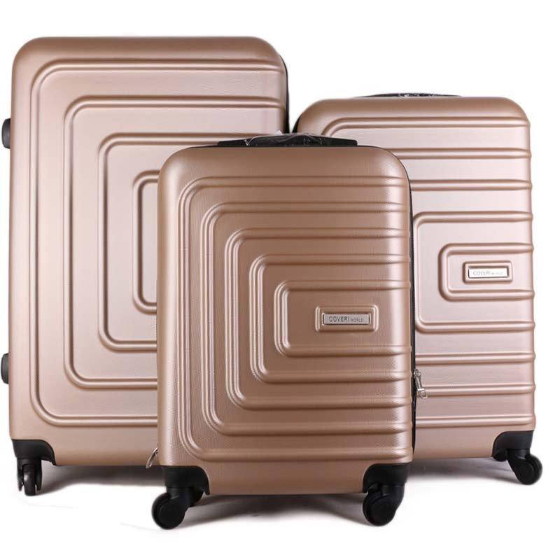 Coveri World Letino champagne cw668 sada 3 cestovních kufrů výprodej 38,75,114 litrů