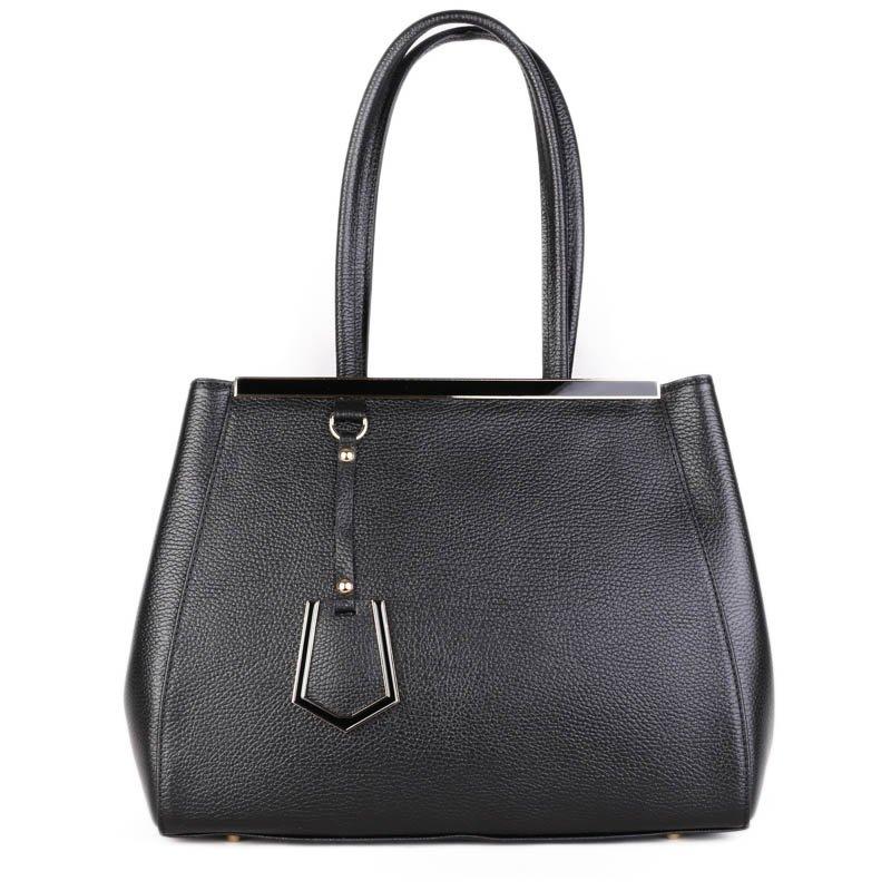 ITALSKÉ Kožené kabelky černé Lujza
