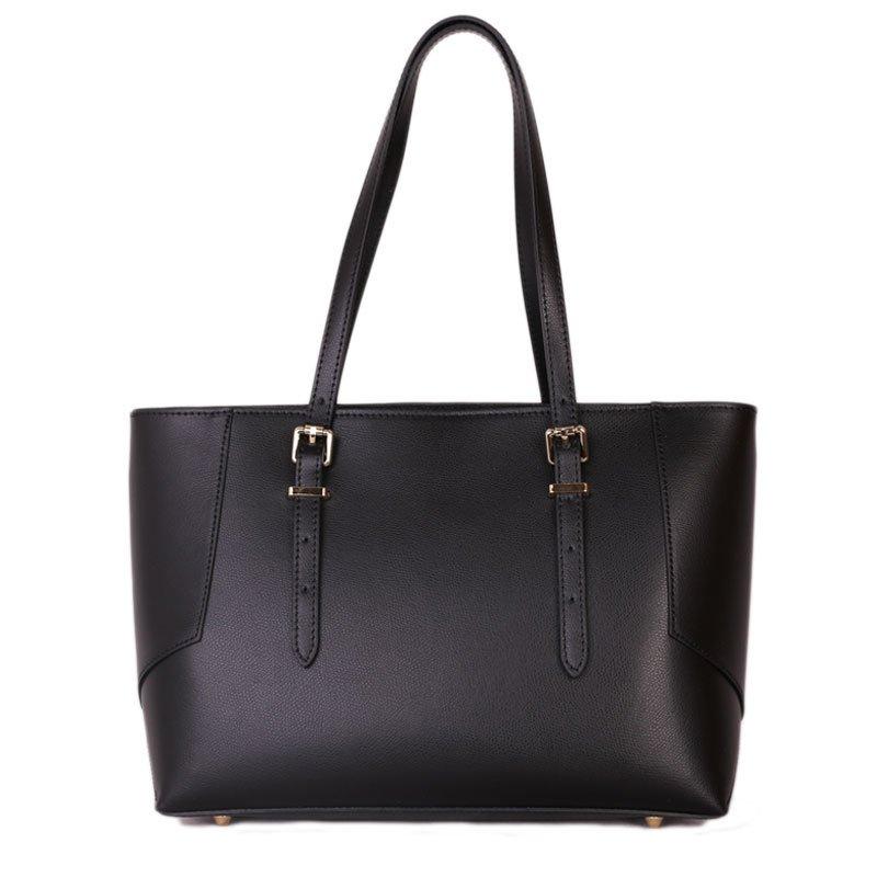 ITALSKÉ Velké dámské kožené kabelky Estela černé f8c40bab342