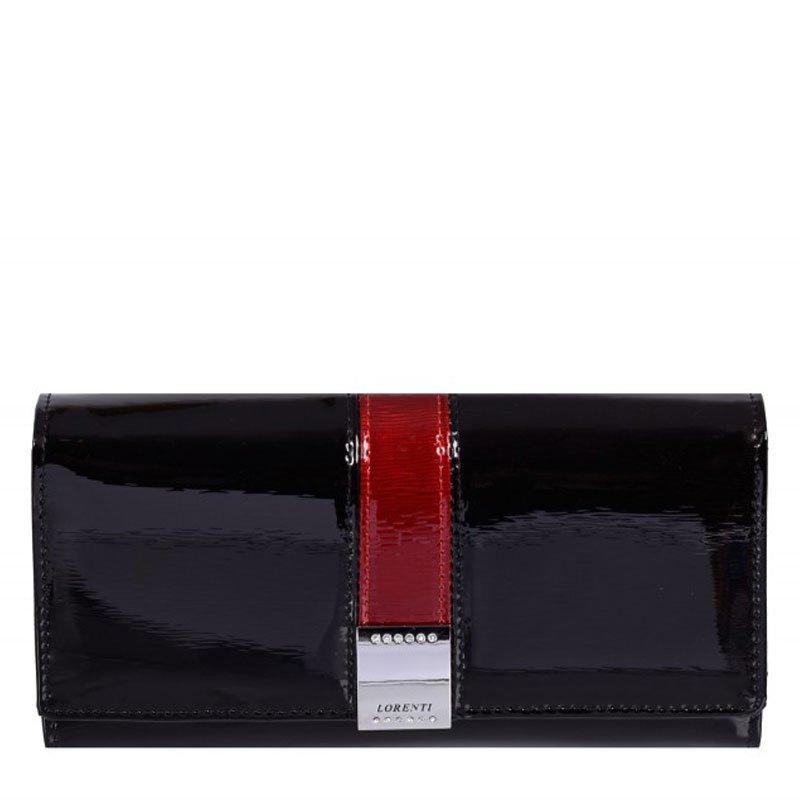 ITALSKÉ Luxusní lakované černé kožené peněženky GF111-SH Lorenti